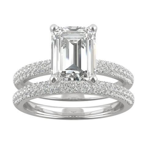 14k White Gold Moissanite by Charles & Colvard Emerald Cut Micropave Bridal Set 3.26 TGW