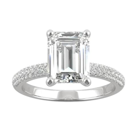 14k White Gold Moissanite by Charles & Colvard Emerald Cut Micropave Engagement Ring 2.87 TGW