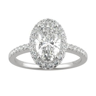 Link to 14k White, Yellow, or Rose Gold Moissanite by Charles & Colvard Elongated Oval Halo Engagement Ring 2.62 TGW Similar Items in Rings