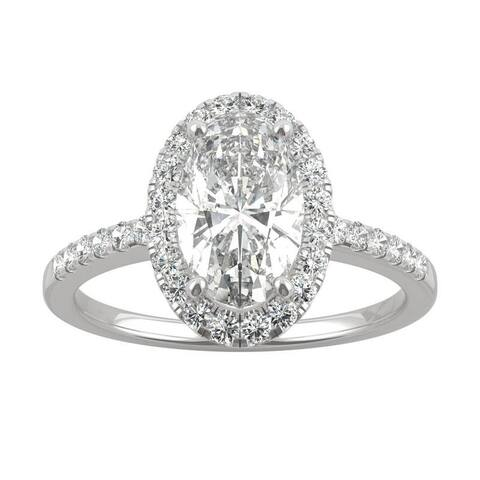 14k White, Yellow, or Rose Gold Moissanite by Charles & Colvard Elongated Oval Halo Engagement Ring 2.62 TGW