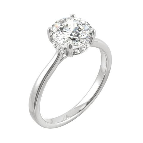 14k White or Yellow Gold Moissanite by Charles & Colvard Round Hidden Halo Solitaire Ring 1.58 TGW