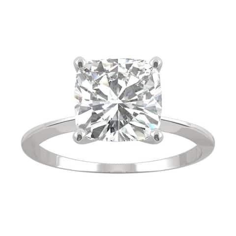 14k White Gold Moissanite by Charles & Colvard Cushion Solitaire Ring 2.40 TGW