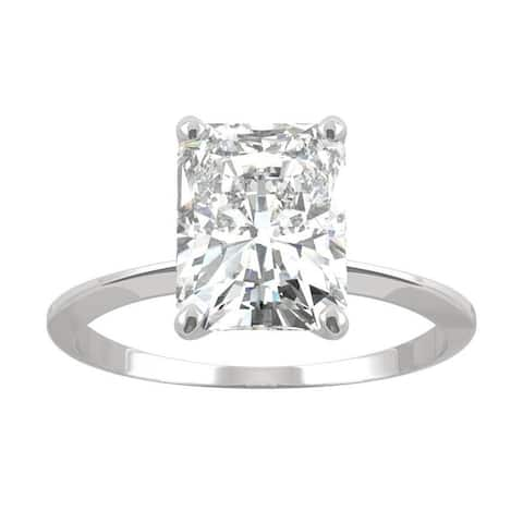 14k White Gold Moissanite by Charles & Colvard Radiant Solitaire Ring 2.70 TGW