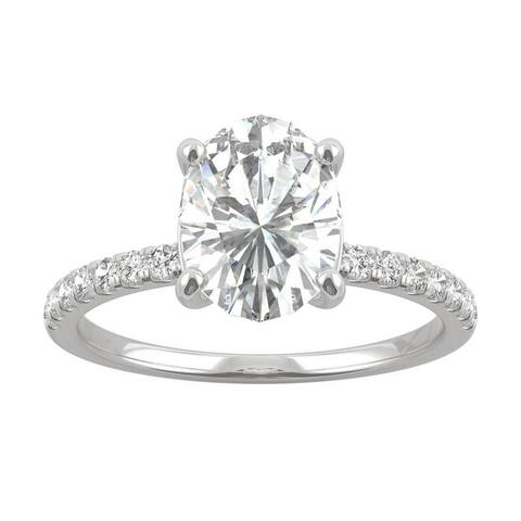 14k White Gold Moissanite by Charles & Colvard Oval Side Stone Engagement Ring 2.34 TGW