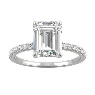 14k White Gold Moissanite by Charles & Colvard Emerald Cut Side Stone Engagement Ring 2.76 TGW