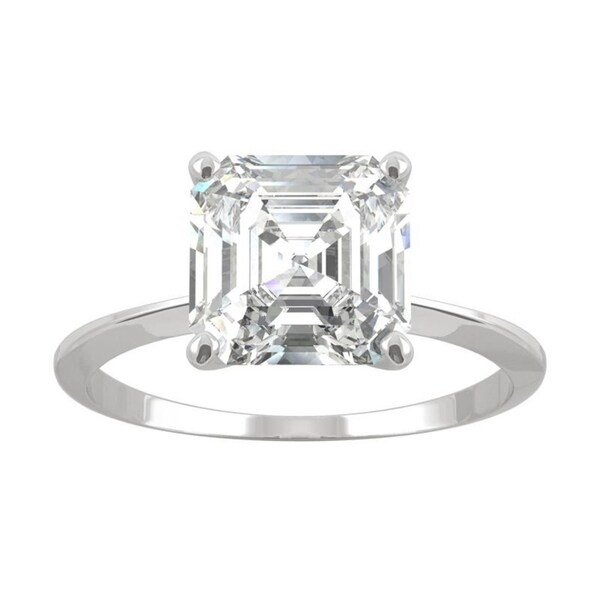 14k White Gold Moissanite by Charles & Colvard Asscher Solitaire Ring 2.21 TGW. Opens flyout.