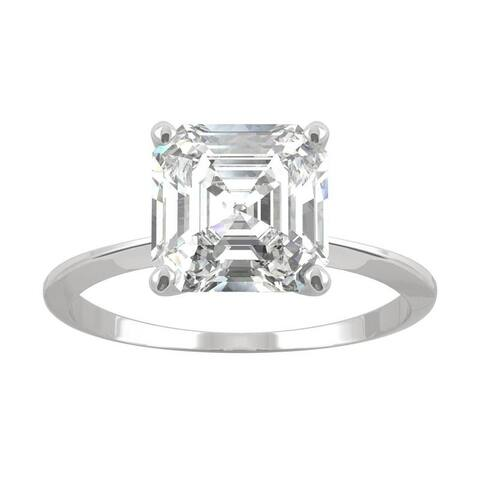 14k White Gold Moissanite by Charles & Colvard Asscher Solitaire Ring 2.21 TGW