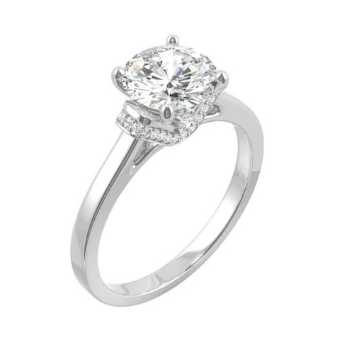 14k White Gold Moissanite by Charles & Colvard Round Cathedral Engagement Ring 1.59 TGW