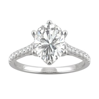 14k White Gold Moissanite By Charles Colvard Oval Six Prong Engagement Ring 2 34 TGW