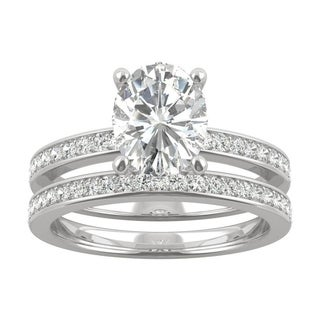 14k White Gold Moissanite By Charles Colvard Oval Bridal Set 2 51 TGW