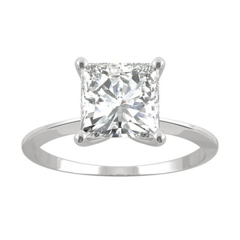 14k White Gold Moissanite by Charles & Colvard Princess Cut Solitaire Ring 1.92 TGW