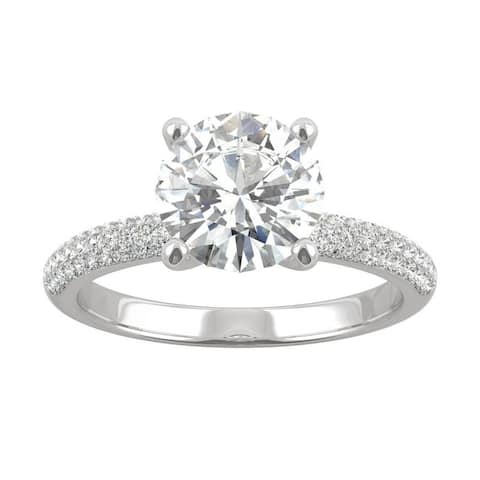 14k White Gold Moissanite by Charles & Colvard Round Pave Engagement Ring 2.25 TGW