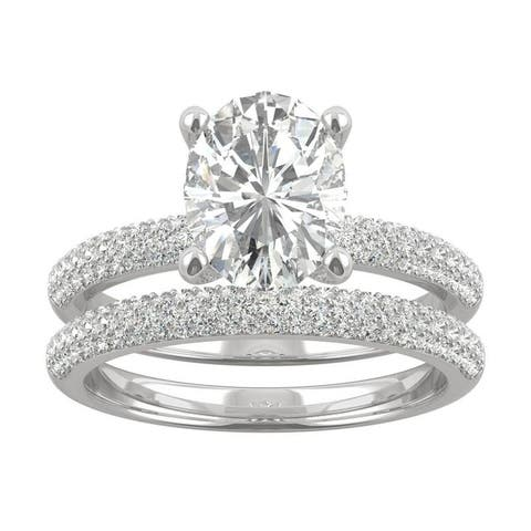 14k White Gold Moissanite by Charles & Colvard Oval Micropave Bridal Set 2.84 TGW