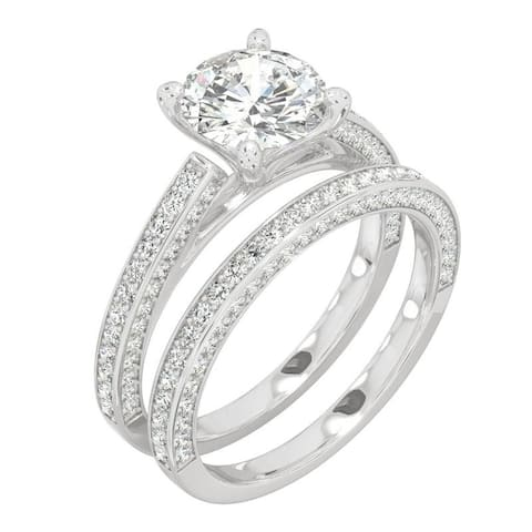 14k White Gold Moissanite by Charles & Colvard Round Three Sided Bridal Set 2.71 TGW