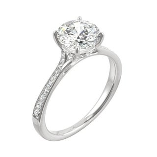 Link to 14k White Gold Moissanite by Charles & Colvard Round Side Stone Engagement Ring 1.64 TGW Similar Items in Rings