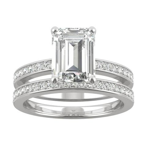 14k White Gold Moissanite by Charles & Colvard Emerald Cut Bridal Set 2.92 TGW