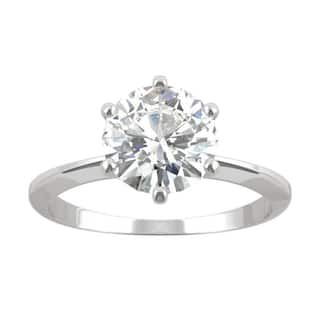 14k White Gold Moissanite by Charles & Colvard Round Six Prong Solitaire Ring 1.90 TGW