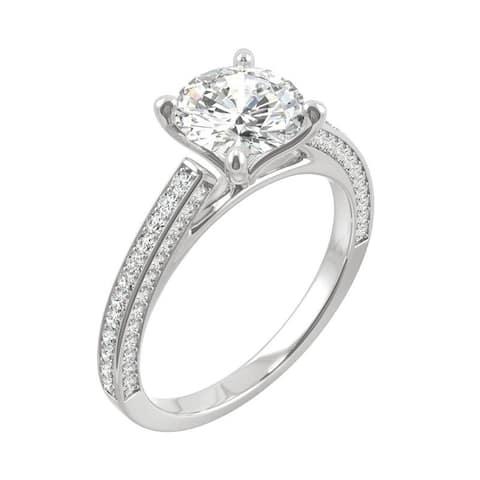 14k White Gold Moissanite by Charles & Colvard Round Three Sided Engagement Ring 2.10 TGW