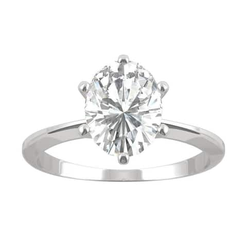 14k White Gold Moissanite by Charles & Colvard Oval Six Prong Solitaire Ring 2.10 TGW