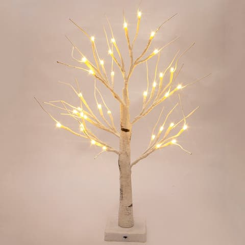 2-Ft Prelit Christmas tree, Birch LED lighted tree with 36 Lights