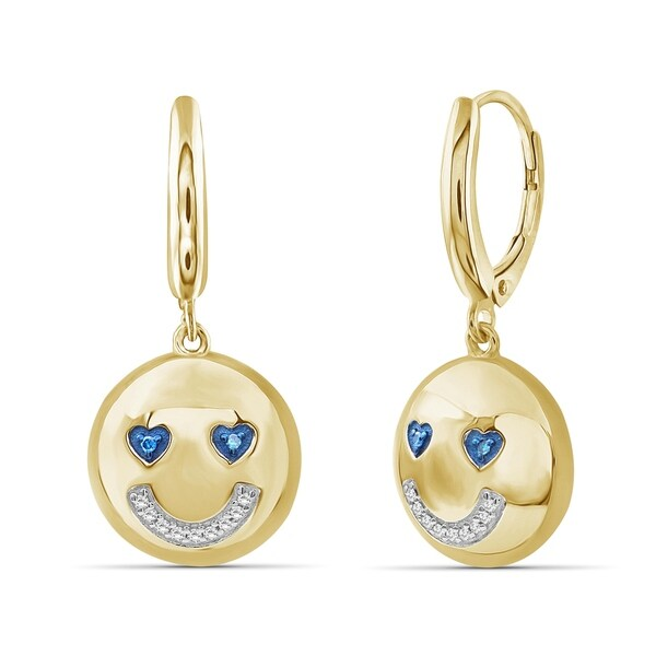JewelonFire 1/20 Ctw Blue & White Diamond Emoji Earrings in Gold over Silver. Opens flyout.