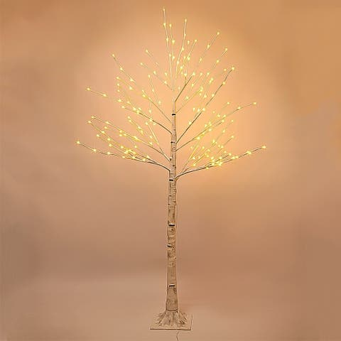 7-Ft Prelit Christmas tree, Birch LED lighted tree with 160 Lights