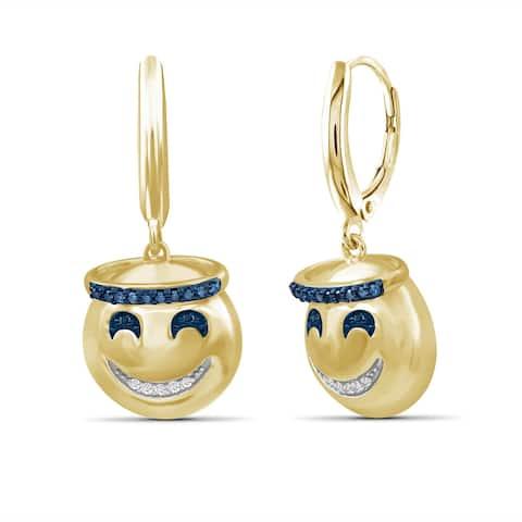 JewelonFire 1/10 Ctw Blue & White Diamond Emoji Earrings in Gold over Silver