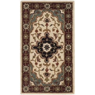 Safavieh Handmade Heritage Traditional Tabriz Ivory/ Red Wool Runner (2'3 x 4')