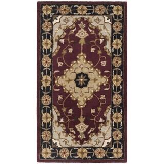 Safavieh Handmade Heritage Traditional Tabriz Red/ Black Wool Runner (2'3 x 4')