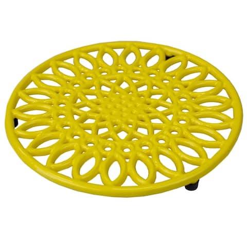 Sunflower Cast Iron Trivet, Yellow
