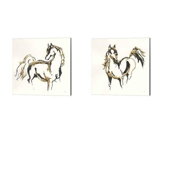 Chris Paschke 'Golden Horse' Canvas Art (Set of 2)