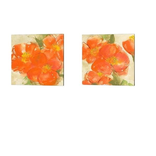 Chris Paschke 'Tangerine Poppies' Canvas Art (Set of 2)