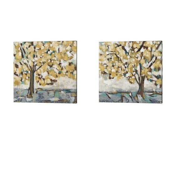 Chariklia Zarris 'Golden Sunrise' Canvas Art (Set of 2)