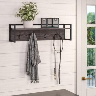 RiverRidge Afton 4-Hook Metal Frame Wall Shelf