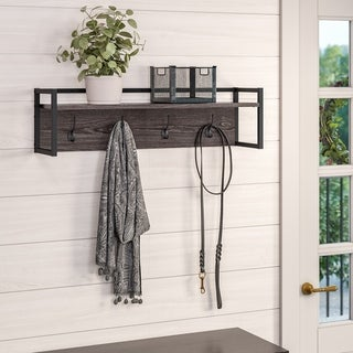 RiverRidge Afton 4-Hook Metal Frame Wall Shelf