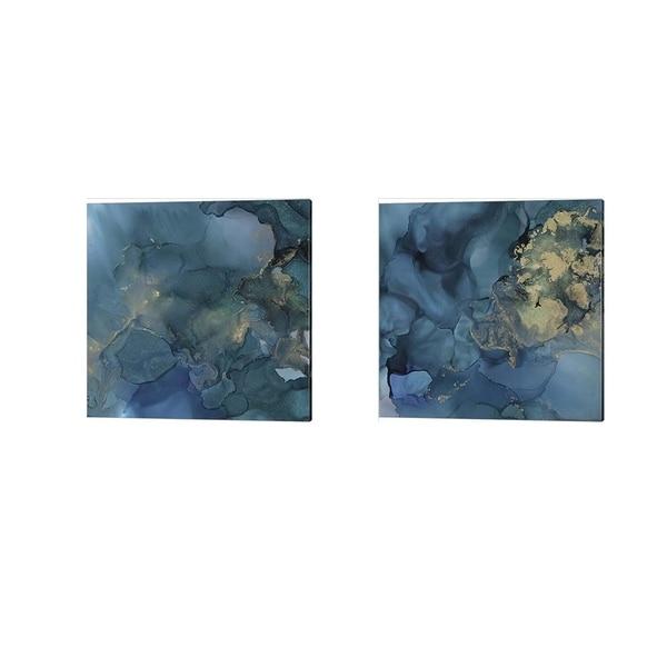 Victoria Borges 'Aquamarine Drift' Canvas Art (Set of 2)