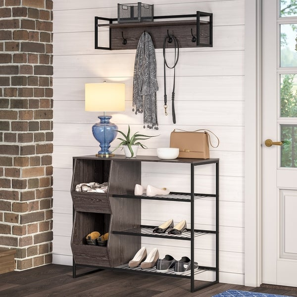 Porch & Den Ashford Weathered Wood Grain Finish 3-tier Shoe Rack with Storage Bins