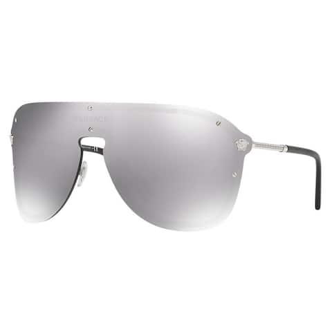 Versace VE2180 Shield Sunglasses Silver/ Grey Mirror 44mm