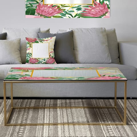Designart 'Efflorescent Gold Pink 4' Metal Modern Coffee Table