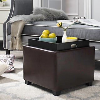 Safavieh Bobbi Tray Cordovan Leather Storage Ottoman