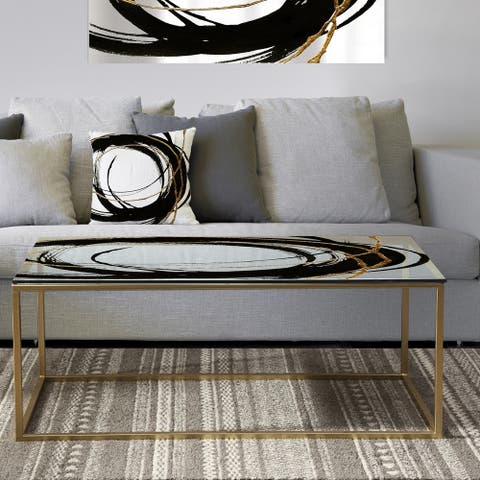 Designart 'Black & White 10' Metal Glam Coffee Table