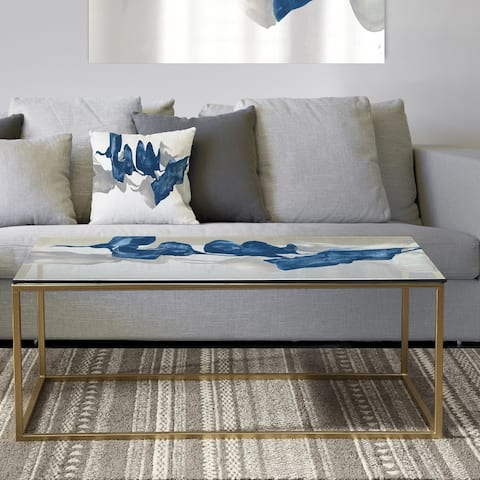 Designart 'Gouache Sapphire on Gray' Metal Transitional Coffee Table