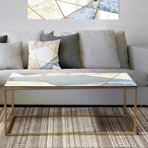 Designart 'Marbled Diamond 3' Metal Mid-Century Modern Coffee Table