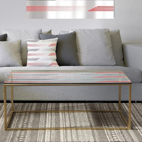 Designart 'Horizontal Retro Geometrical Pattern I' Metal Vintage Coffee Table