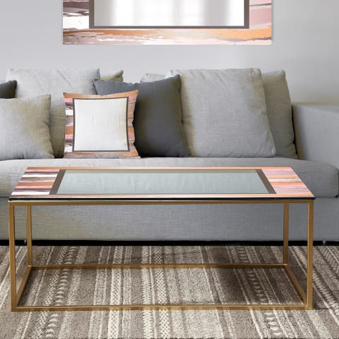 Designart 'Gold and Pink Frame' Metal Mid-Century Modern Coffee Table