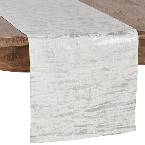 Artistic Wood Grain Metallic Cotton Table Runner