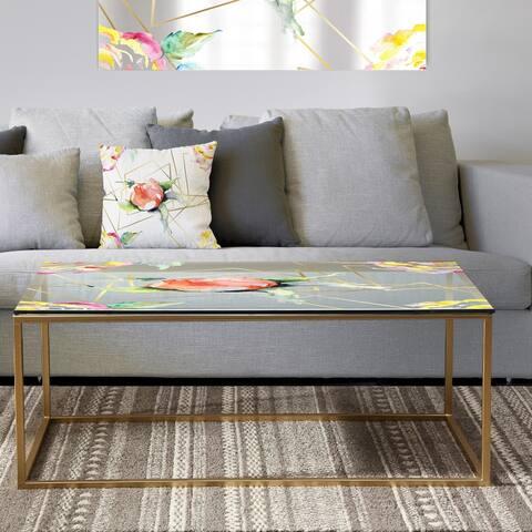 Designart 'Orange Rose Flower Retro Pattern' Metal Vintage Coffee Table