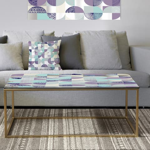 Designart 'Retro Geometric Design IV' Metal Vintage Coffee Table