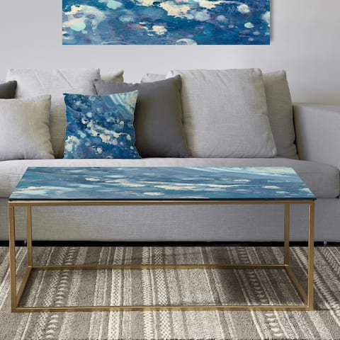 Designart 'Water III' Metal Traditional Coffee Table