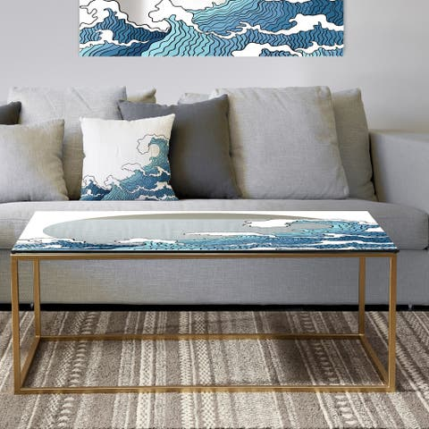 Designart 'Surfs Up Wave' Metal Bohemian & Eclectic Coffee Table